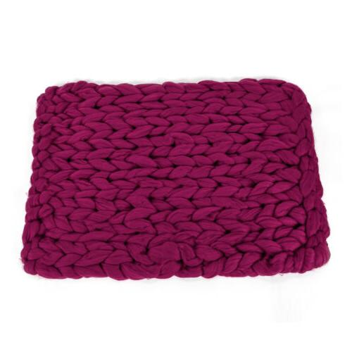 Chunky Knitted Crochet Blanket Hand Yarn Knit Sofa 2