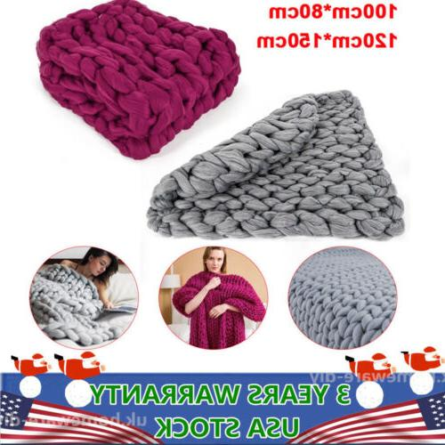 chunky knitted thick crochet blanket hand yarn