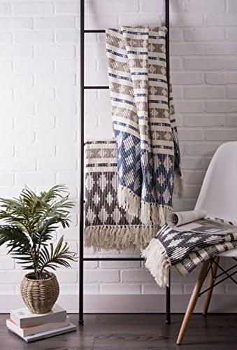 Cotton Handwoven Stripe Throw Fringe Chair, Camping, Beach, x 60, Dark Brown/Stone