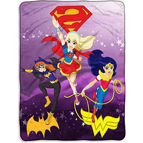 comics super hero girls soaring thru sky micro raschel throw