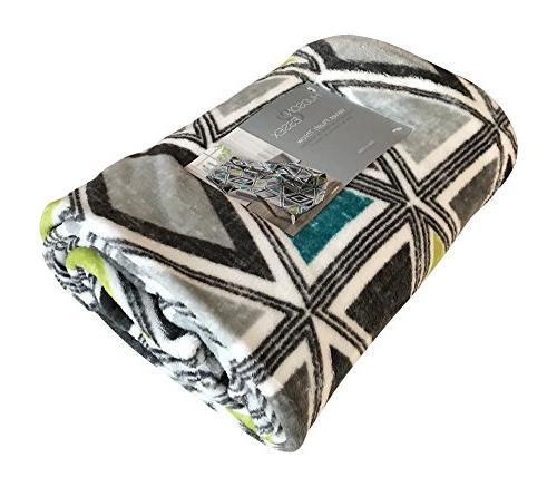 Cosmopolitan Throw Soft Plush Modern Patterned for or Teal, Grey, Lime Tribecca