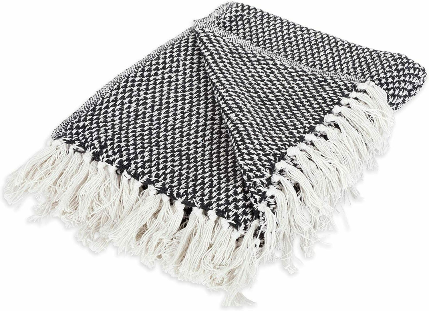 cotton diamond herringbone throw