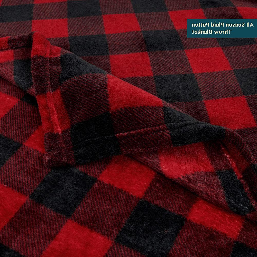 Cozy Soft Fleece Throw Blanket Winter Checkered