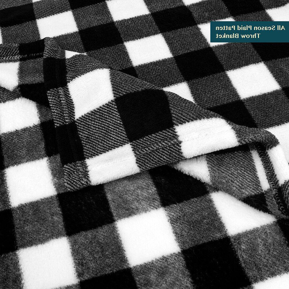 Cozy Soft Microfiber Flannel Fleece Throw Blanket Winter Checkered