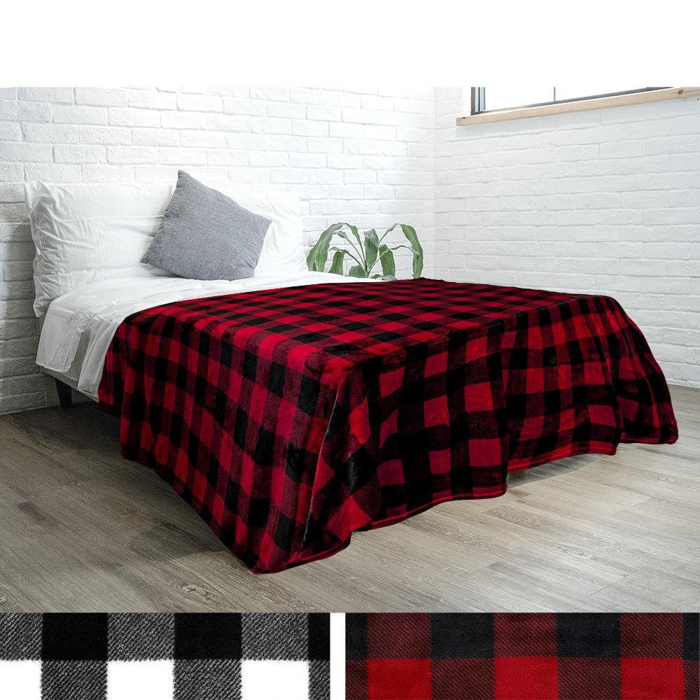 Cozy Microfiber Fleece Throw Blanket Fall Winter Checkered Plaid
