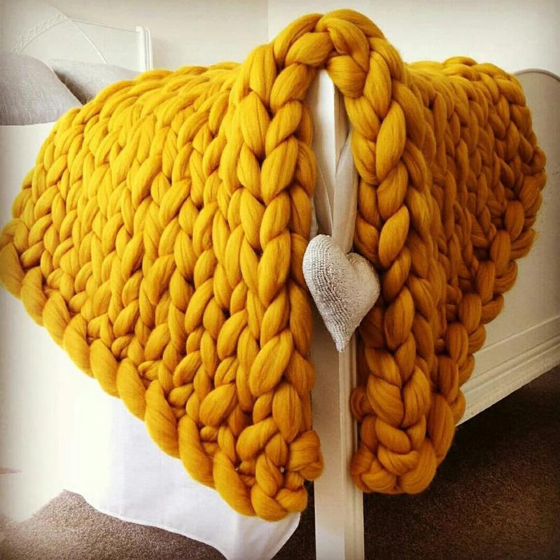 Crocheted Weaving Fleece Wool Giant Thick Yarn Bulky Knitting <font><b>Throw</b></font> <font><b>Blankets</b></font>