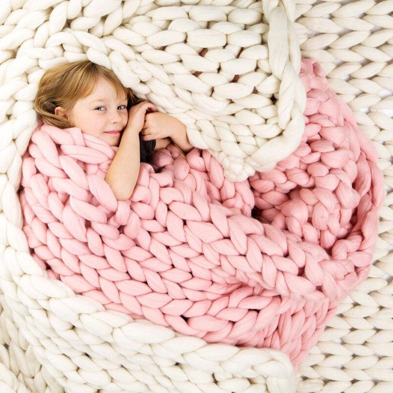 Crocheted Bed/Sofa <font><b>Blanket</b></font> Weaving Fleece Thick <font><b>Throw</b></font> <font><b>Blankets</b></font>