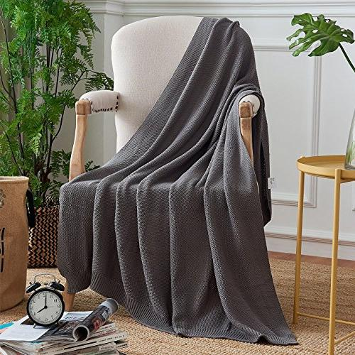 Dark Cable Knit Throw for Couch Sofa Decorative ,Gray x Inch pounds Come With a Washing