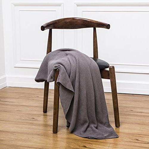 Dark Knit Blanket for Couch Sofa Decorative ,Gray Color x Inch pounds Come Washing
