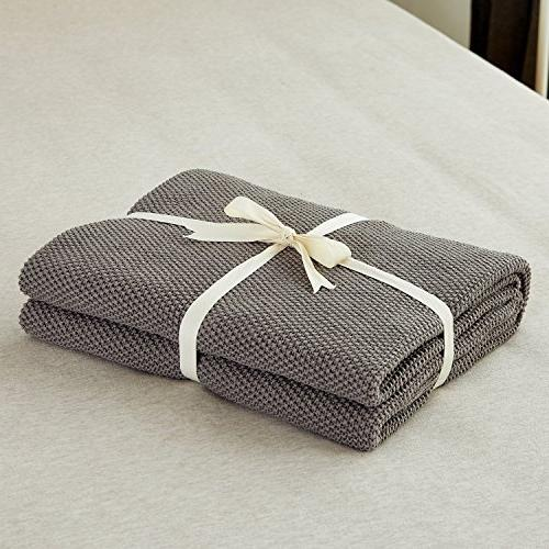 Dark Grey Knit Throw Couch Sofa Chair Decorative ,Gray x pounds Come With a Washing Bag
