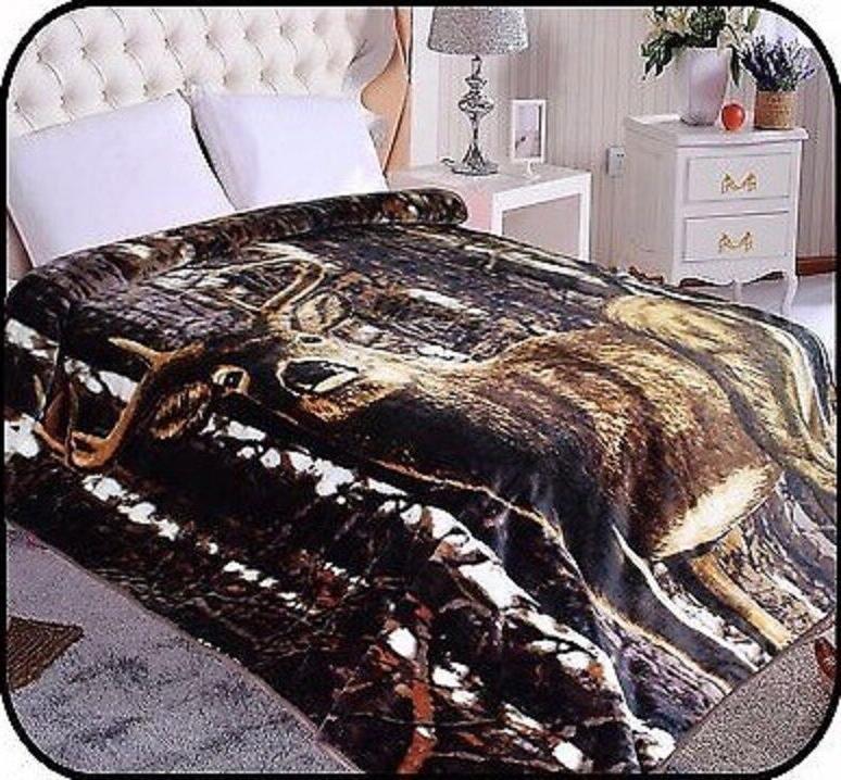 deer animal mink blanket throw bedspread comforter