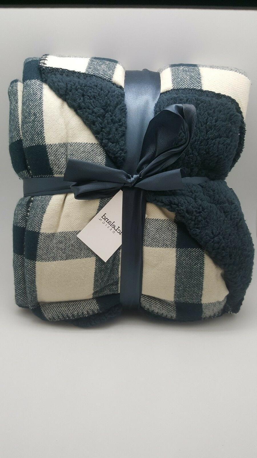 design throw blankets denim blue buffalo checkered