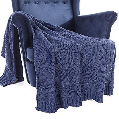 diamond cable knit chenille throw blanket
