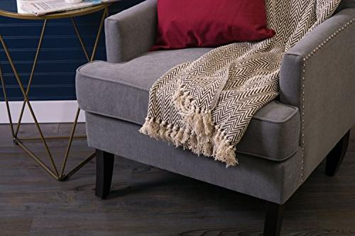 DII Farmhouse Chevron Blanket Throw Fringe for Chair, Couch, Use, 50 - Chevron Brown