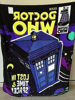 "DOCTOR WHO ""Lost in Time & Space!"" RASCHEL THROW BLANKET"