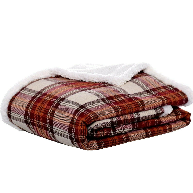 edgewood plaid flannel sherpa throw blanket 50
