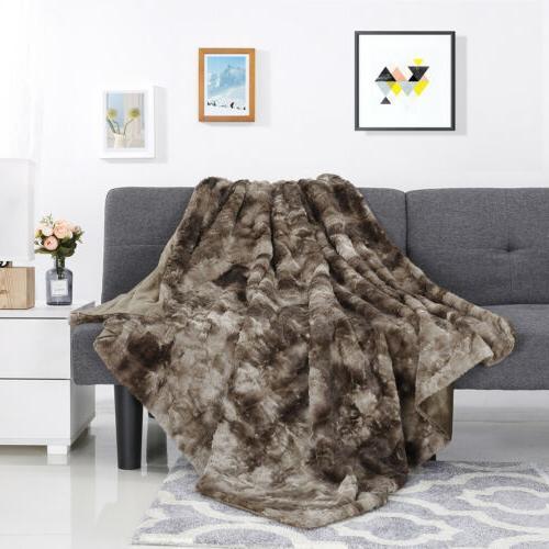 "Faux Fur Bed Blanket Sofa Throw x 80"""