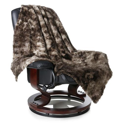 "Faux Fleece Bed Blanket Sofa Throw 60"" x 80"""