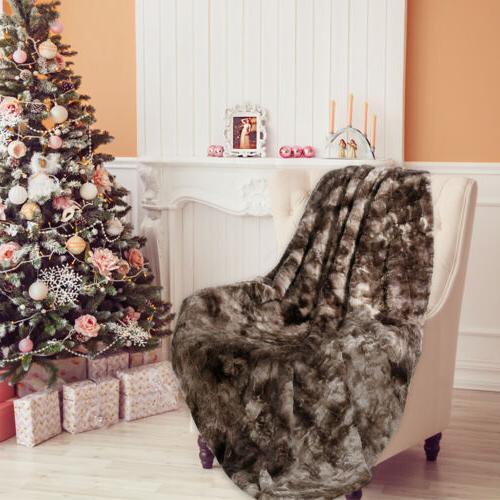 "Faux Fur Blanket Soft Warm Sofa Throw x 80"""