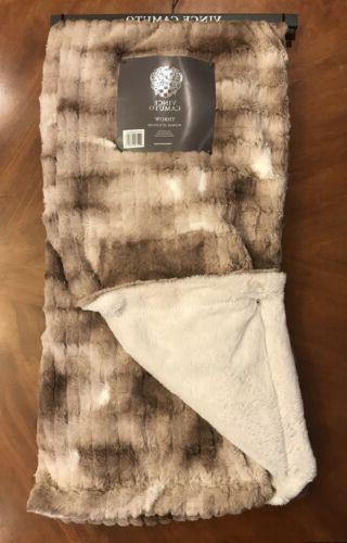 Vince Embossed Fur Throw Feather