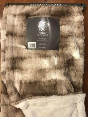 Vince Embossed Fur Throw Feather Filled Pillow