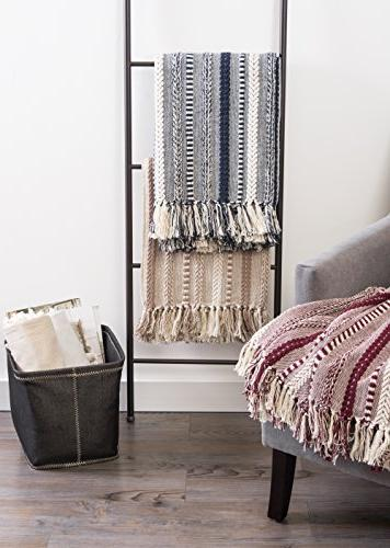 """DII Farmhouse Cotton Stripe Blanket Throw with For Couch, Camping, Use 60"""" Stone"""