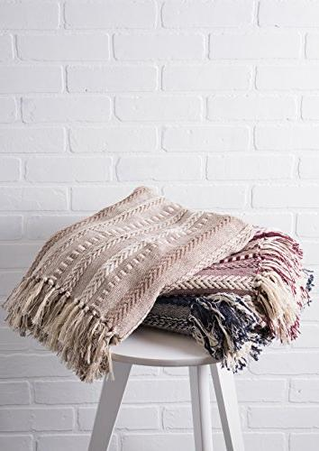 """DII Blanket Fringe For Chair, Couch, Camping, & Use 50 60"""" Braided Stripe"""