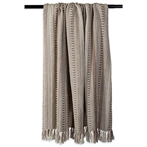"""DII Blanket with Fringe For Chair, Camping, Use , 60"""" - Stone"""