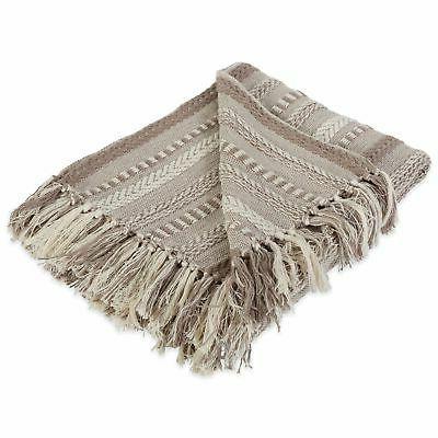 farmhouse cotton stripe blanket throw