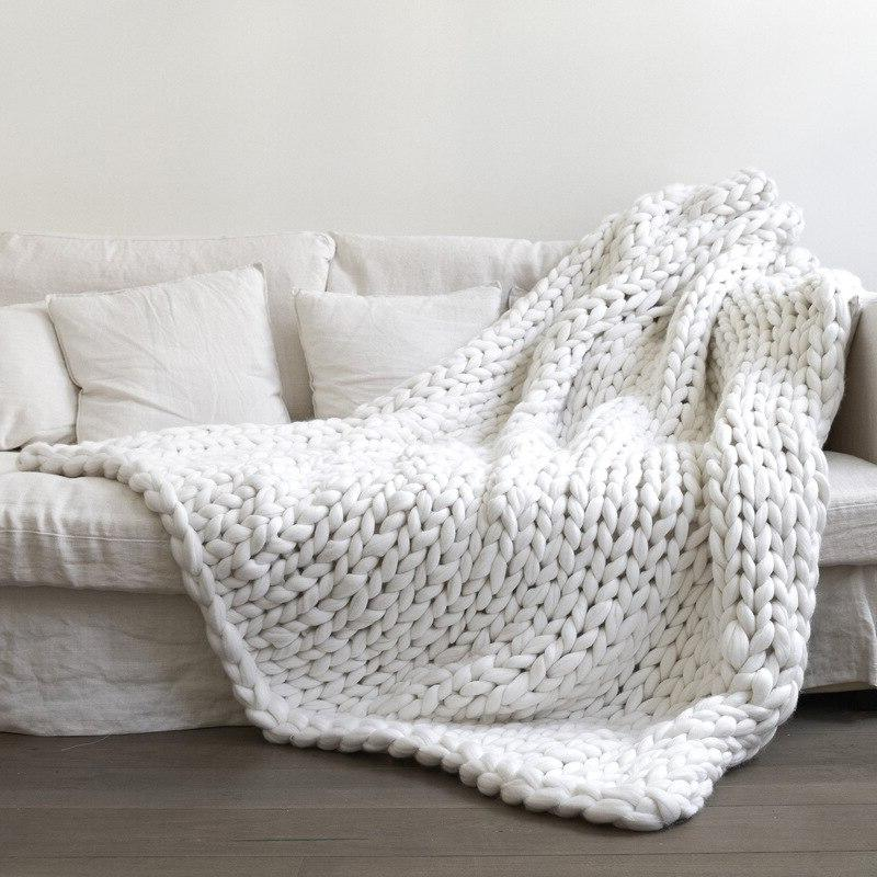 Fashion Chunky <font><b>Knitted</b></font> <font><b>Blanket</b></font> Thick Winter Drop