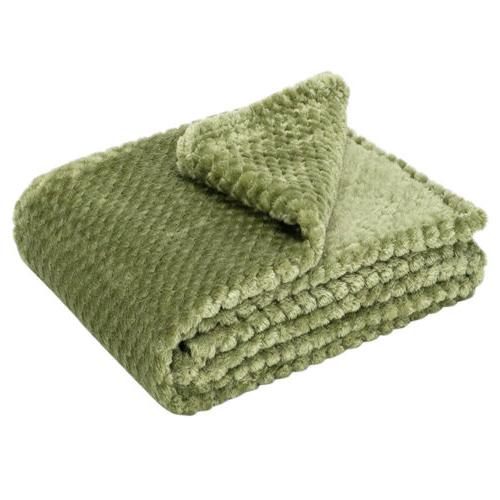 Soft Throw Blanket Reversible Warm Faux Fleece for Bed