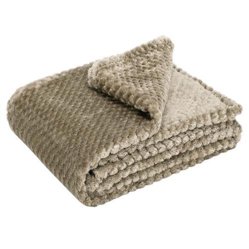 Faux Reversible Sherpa Plush Warm Bed Blanket