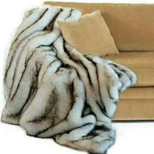 Faux Fur Black Tips Soft Throw