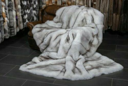 Faux Fur Husky Black White Tips Soft Throw