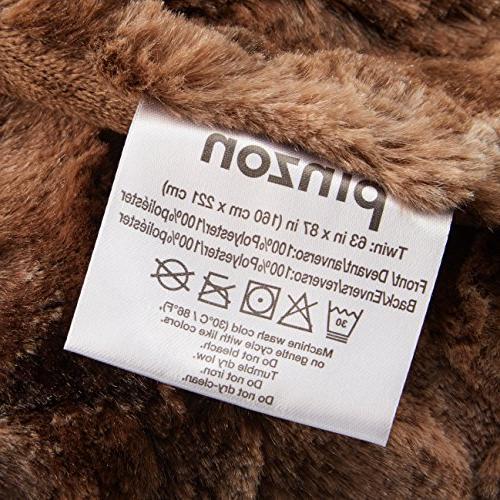 "Pinzon Faux Fur Blanket x 87"", Alpine Brown"