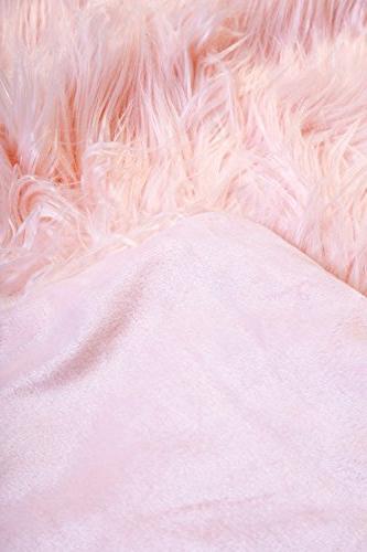 Faux Fur Throw Mongolian Pink