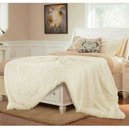 Faux Fur Throw Reversible Fluffy Fleece Shaggy Sofa Bed Decor