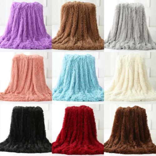 Faux Fur Throw Reversible Shaggy Decor