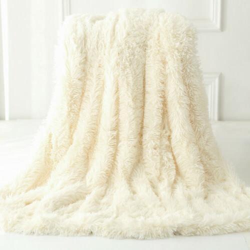 reversible faux fur blanket soft warm fluffy
