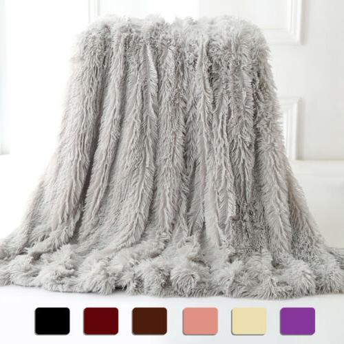 faux fur throw blanket reversible soft fluffy