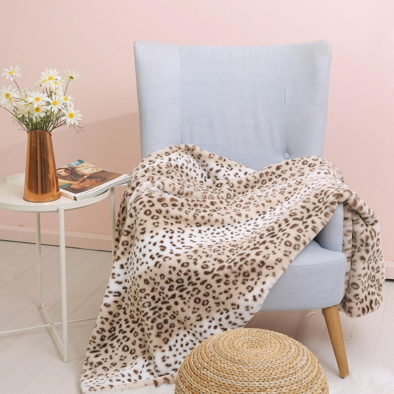"Faux Fur - Cozy Fur 50x60"", Leopard Pattern"