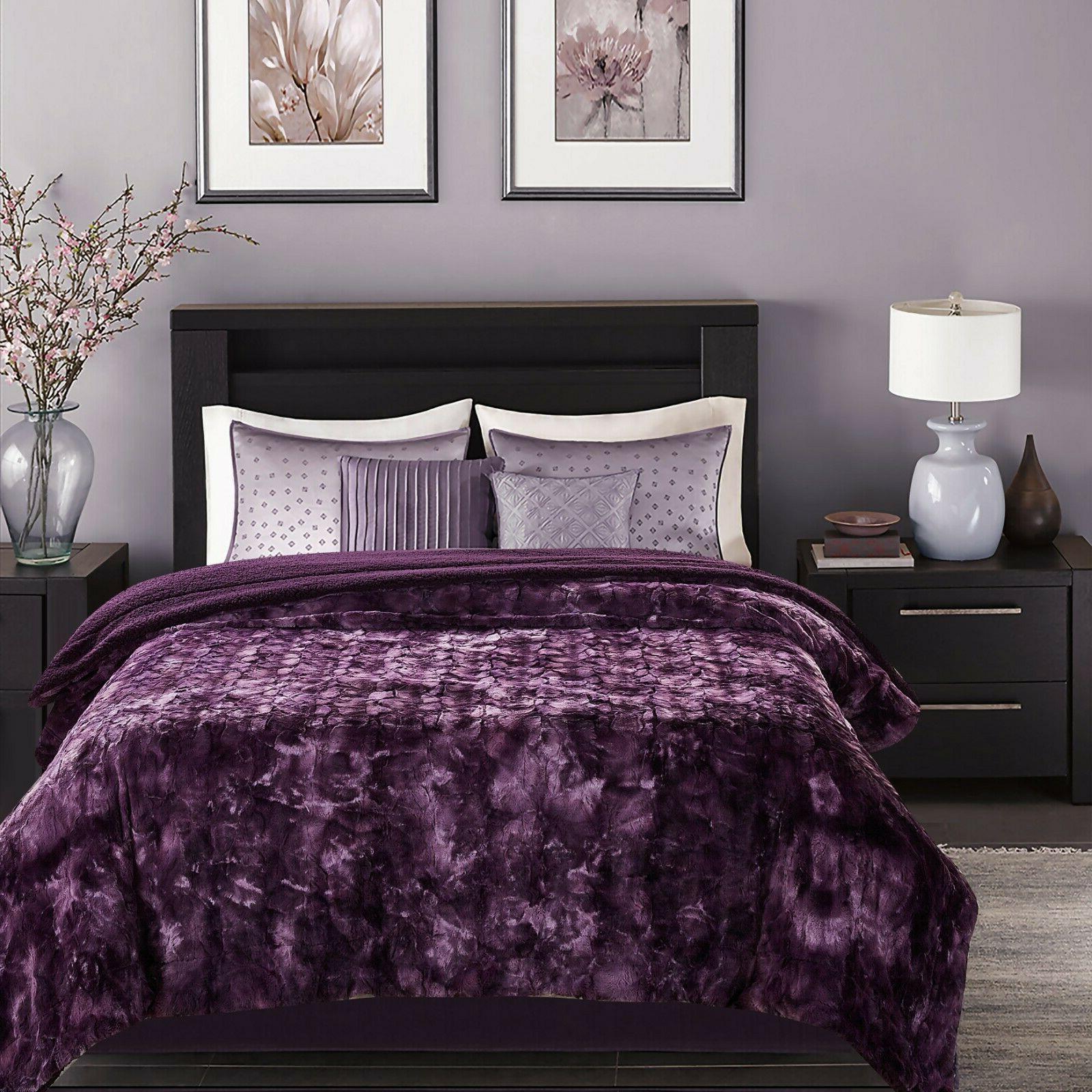 Chanasya Faux Fur Throw Blanket Fluffy Sherpa Bed Couch
