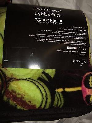 Five 5 Nights Freddy's Fazbear Bonnie Chica Plush Fleece Blanket 48X60