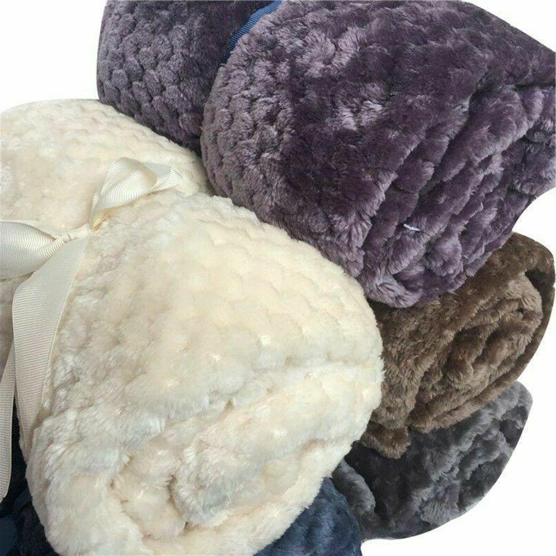 Flannel Soft Warm Faux Fleece Blanket Mink Sofa Bed Luxury