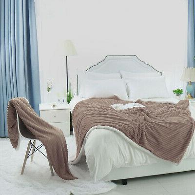 Flannel Bed Throws Fleece Reversible Blanket