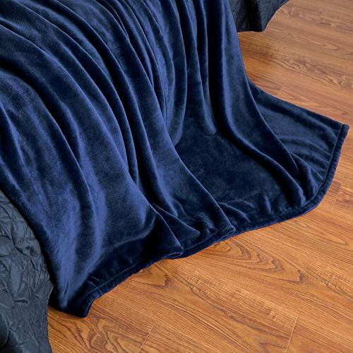Flannel Fleece Navy Plush Microfiber by Bedsure