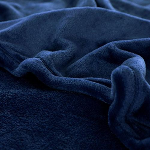 Flannel Fleece Navy Plush Microfiber Solid by Bedsure