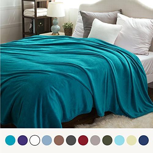 flannel fleece blanket peacock blue