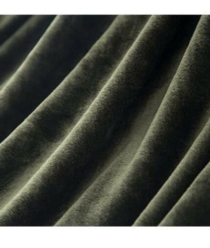 Flannel Fleece Luxury Blanket Super Soft, Olive Green, Twin