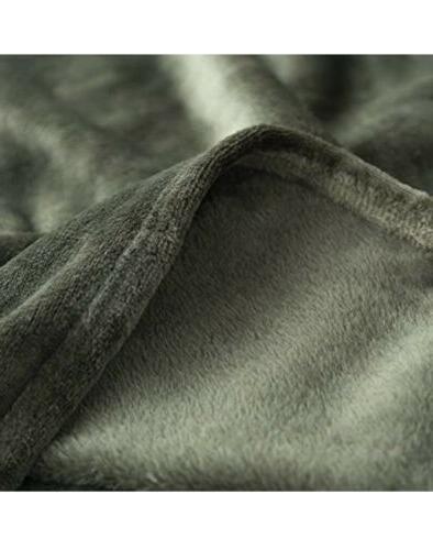 Flannel Fleece Luxury Throw Blanket Olive Twin